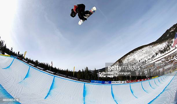 Benjamin Farrow competes in the final round of the FIS Freestyle Snowboard World Cup 2015 men's snowboard halfpipe during the USSA Grand Prix on...