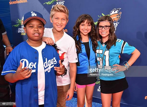 Benjamin Flores Jr Thomas Kuc Cree Cicchino and Madisyn Shipman attend the Nickelodeon Kids' Choice Sports Awards 2015 at UCLA's Pauley Pavilion on...