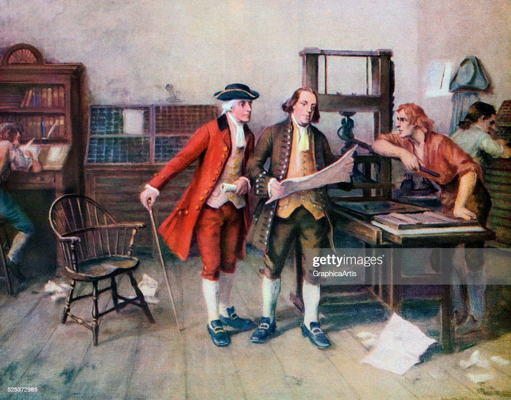 <a gi-track='captionPersonalityLinkClicked' href=/galleries/search?phrase=Benjamin+Franklin&family=editorial&specificpeople=77750 ng-click='$event.stopPropagation()'>Benjamin Franklin</a> and associates at Franklin's printing press in 1732; screen print, 1954.