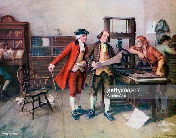 Benjamin Franklin and associates at Franklin's printing press in 1732 screen print 1954