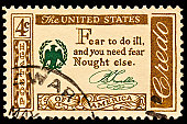 """The quotation  was created by Benjamin Franklin""""Fear to do ill,and you fear Naught else"""" Postal stamp was issued as part of the American Credo issues in 196-61."""