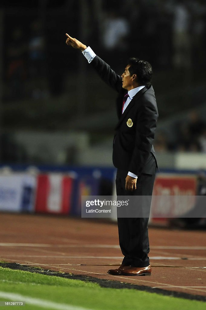 Benjamin Galindo gives instructions during the match between Monterrey and Chivas as part of the Clausura 2013 on February 9, 2013 in Monterrey, Mexico.