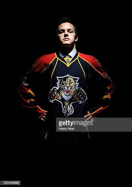 Benjamin Gallacher drafted in the fourth round by the Florida Panthers poses for a portrait during the 2010 NHL Entry Draft at Staples Center on June...
