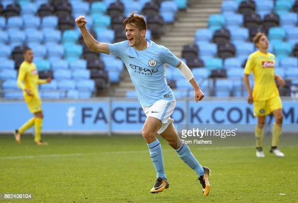 Benjamin Garre of Manchester City celebrates as he scores their thrid goal during the UEFA Youth League Group F match between Manchester City and SSC...