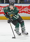 Benjamin Gleason of the London Knights skates against the Sarnia Sting in an OHL game at Budweiser Gardens on January 23 2015 in London Ontario...