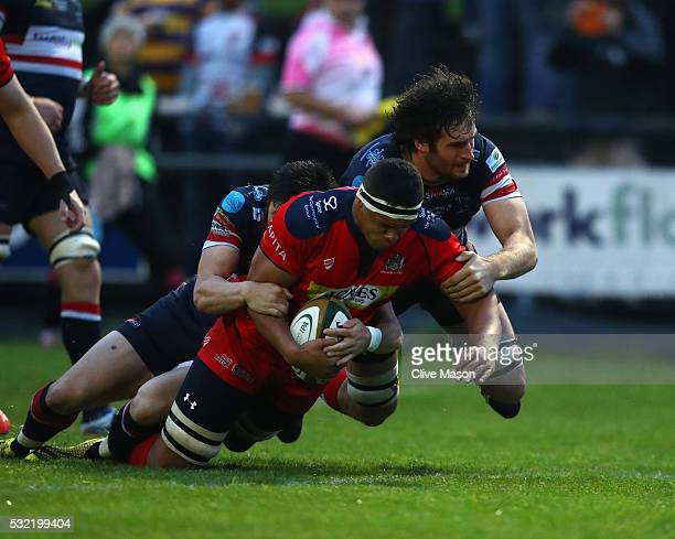 Benjamin Glynn of Bristol Rugby goes over to score a try during the Greene King IPA Championship play off final first leg match between Doncaster...