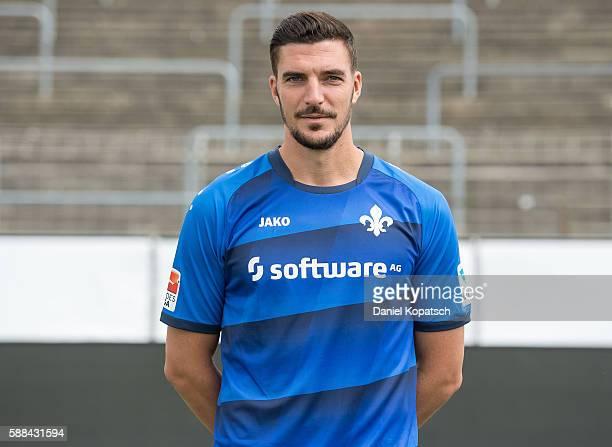 Benjamin Gorka poses during the Darmstadt 98 Team Presentation on August 11 2016 in Darmstadt Germany