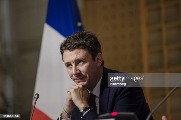 Benjamin Griveaux France's junior economy minister looks on during a budget briefing at the economy ministry in Paris France on Wednesday Sept 27...