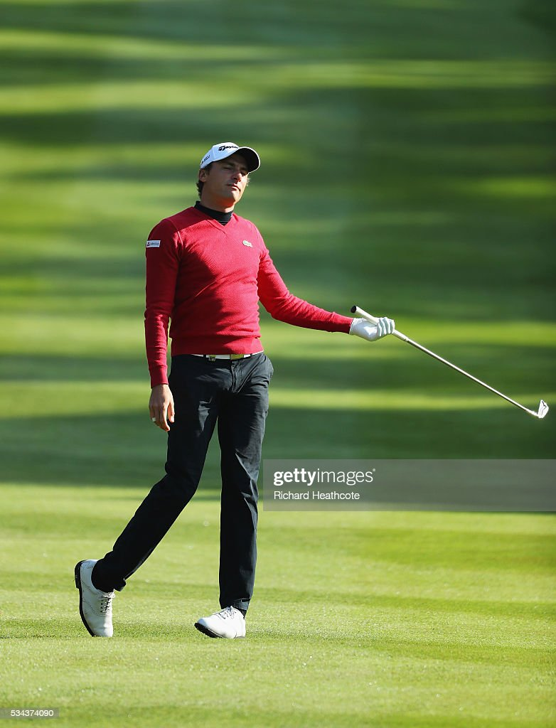 Benjamin Hebert of France reacts on the 4th hole during day one of the BMW PGA Championship at Wentworth on May 26, 2016 in Virginia Water, England.