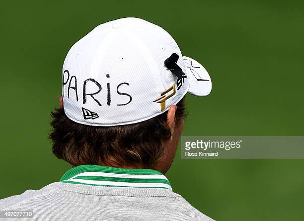 Benjamin Hebert of France with a message for Paris on his golf cap during the third round of the BMW Masters at Lake Malaren Golf Club on November 14...