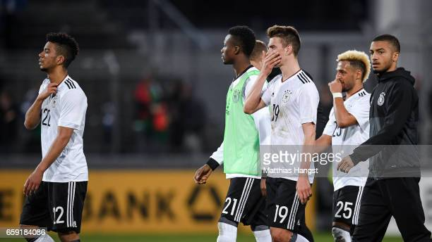Benjamin Henrichs Gideon Jung Janik Haberer and Hany Mukhtar of Germany react after the U21 International Friendly match between Germany U21 and...