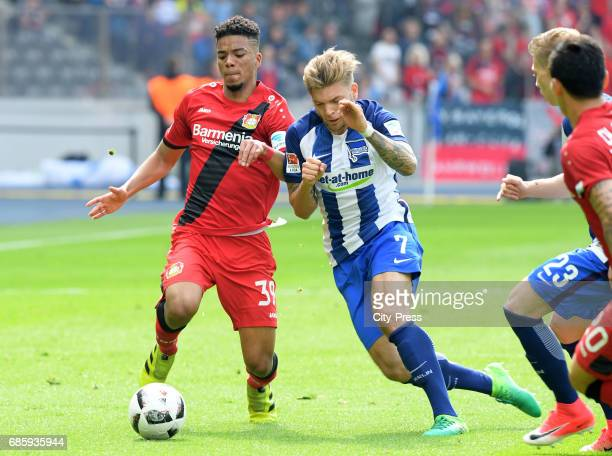 Benjamin Henrichs of Bayer 04 Leverkusen and Alexander Esswein of Hertha BSC during the game between Hertha BSC and Bayer 04 Leverkusen on may 20...