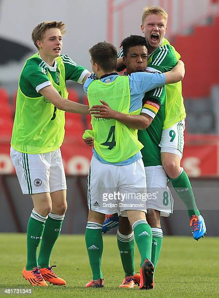 Benjamin Henrichs of Germany celebrate with Phillipp Ochs after the UEFA Under17 Elite Round between Serbia and Germany at Stadion Karadjordje on...
