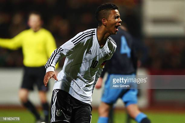 Benjamin Henrichs of Germany celebrates his team's fourth goal during the U16 international friendly match between Germany and England at Suedstadion...