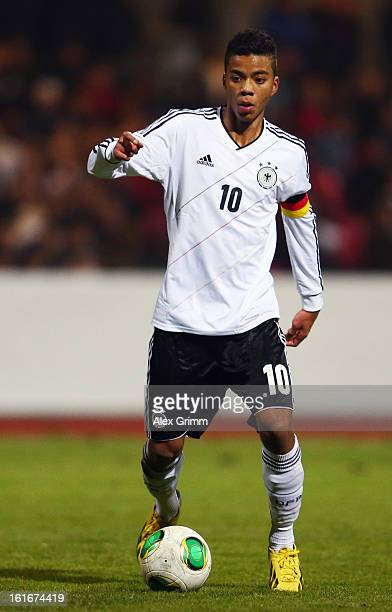 Benjamin Henrichs of Germany controles the ball during the U16 international friendly match between Germany and England at Suedstadion on February 13...