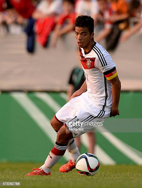 Benjamin Henrichs of Germany controls the ball during the Men's International Friendly match between U18 Germany and U18 Austria at SelgrosArena on...