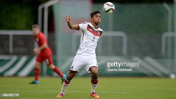 Benjamin Henrichs of Germany controls the ball during the U19 international friendly match between Germany and England on September 4 2015 in...