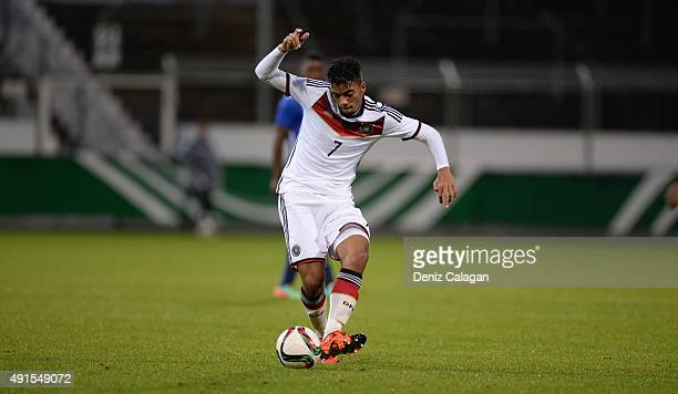 Benjamin Henrichs of Germany handles the ball during the U19 MercedesBenz Elite Cup at Gazi Stadion on October 6 2015 in Stuttgart Germany