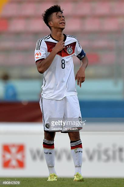 Benjamin Henrichs of Germany reacts after losing the UEFA Under17 European Championship 2014 group B match between Portugal and Germany at Ta' Qali...