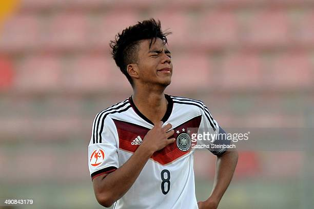Benjamin Henrichs of Germany reacts after losing the UEFA Under17 European Championship 2014 group B match against Portugal at Ta' Qali National...