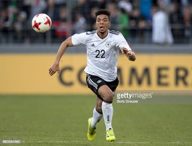 Benjamin Henrichs of Germany runs with the ball during the International Friendly match between Germany U21 and Portugal U21 at GaziStadion on March...