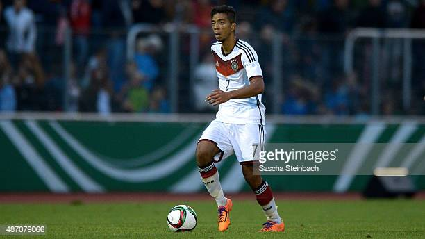 Benjamin Henrichs of Germany runs with the ball during the U19 international friendly match between Germany and England on September 4 2015 in...