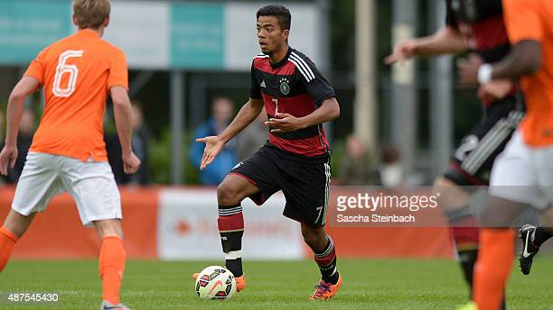 Benjamin Henrichs of Germany runs with the ball during the U19 international friendly match between Netherlands and Germany on September 7 2015 in...