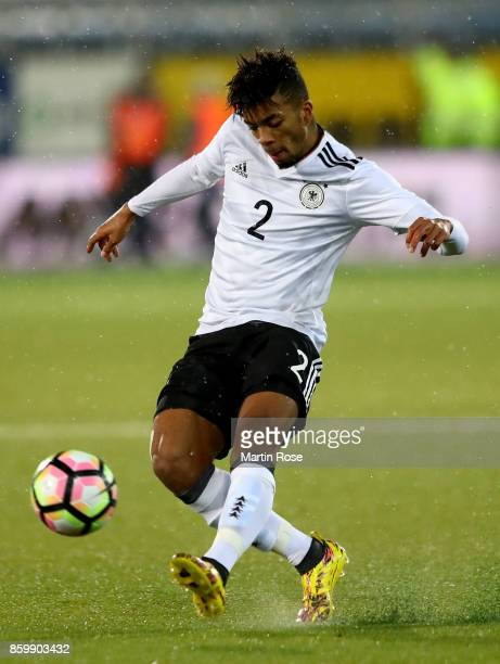 Benjamin Henrichs of Germany runs with the ball during the UEFA Under21 Euro 2019 Qualifier match between U21 of Norway and U21 of Germany at...
