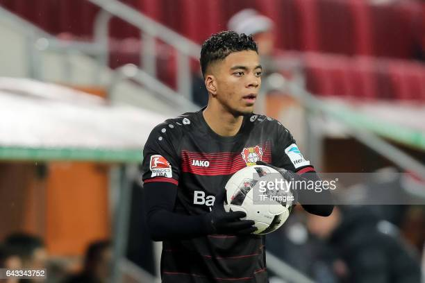 Benjamin Henrichs of Leverkusen controls the ball during the Bundesliga match between FC Augsburg and Bayer 04 Leverkusen at WWK Arena on February 17...