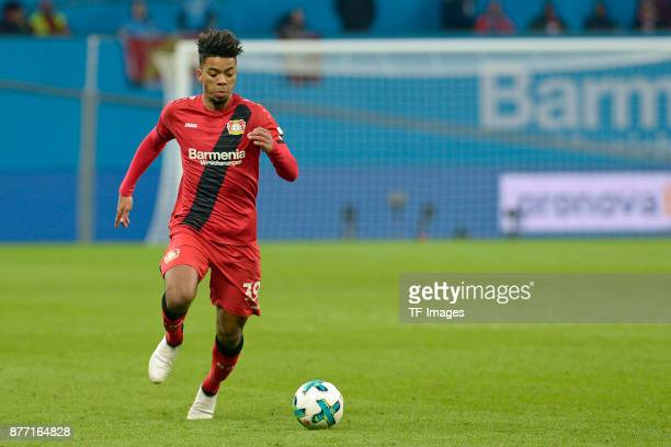 Benjamin Henrichs of Leverkusen controls the ball during the Bundesliga match between Bayer 04 Leverkusen and RB Leipzig at BayArena on November 18...