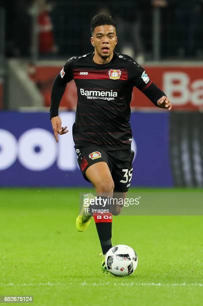 Benjamin Henrichs of Leverkusen controls the ball during the Bundesliga soccer match between Bayer Leverkusen and Werder Bremen at the BayArena...