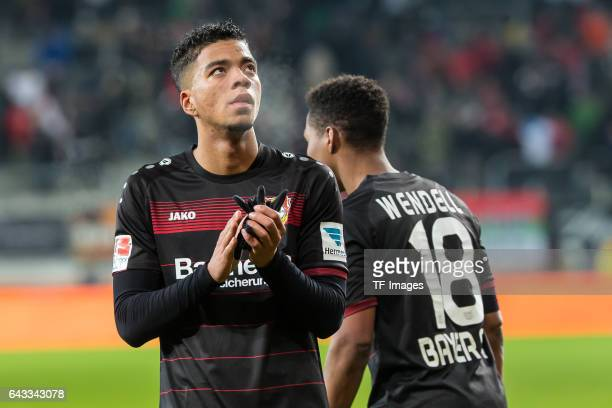 Benjamin Henrichs of Leverkusen looks on during the Bundesliga match between FC Augsburg and Bayer 04 Leverkusen at WWK Arena on February 17 2017 in...