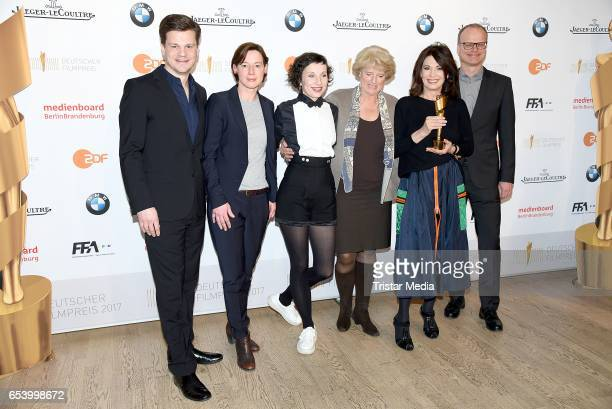 Benjamin Herrmann Anne Leppin Meret Becker Monika Gruetters Iris Berben and Philipp Weinges attend the nominees announcement for the Lola German film...