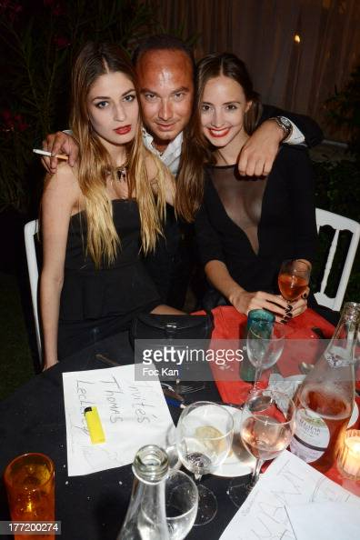 Benjamin Hocquart from Club 79 and models Maurane and Anastasia attend the Massimo Gargia's Birthday Dinner at Moulins de Ramatuelle on August 21...