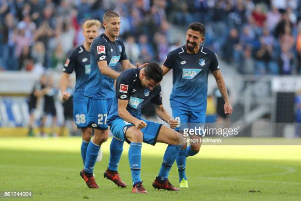 Benjamin Huebner of Hoffenheim celebrates after he scored his teams first goal to make it 10 during the Bundesliga match between TSG 1899 Hoffenheim...