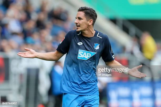 Benjamin Huebner of Hoffenheim gestures during the Bundesliga match between TSG 1899 Hoffenheim and Hertha BSC at Wirsol RheinNeckarArena on...