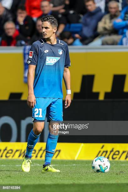 Benjamin Huebner of Hoffenheim looks on during the Bundesliga match between TSG 1899 Hoffenheim and Hertha BSC at Wirsol RheinNeckarArena on...