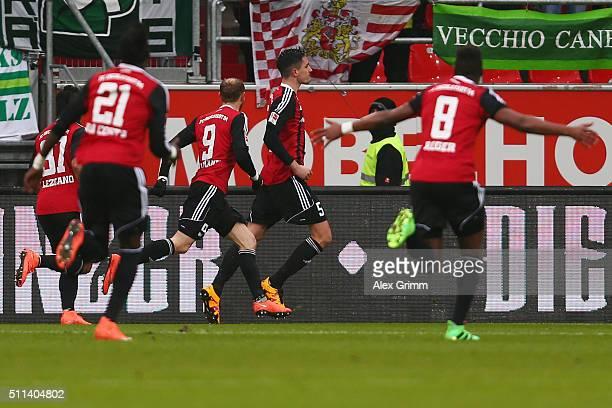Benjamin Huebner of Ingolstadt celebrates his team's first goal with team mates during the Bundesliga match between FC Ingolstadt and Werder Bremen...