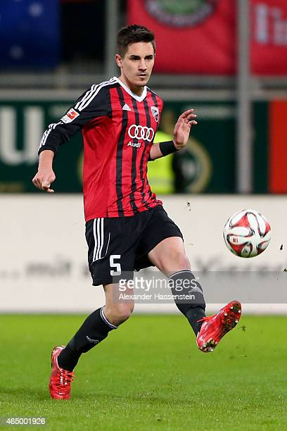 Benjamin Huebner of Ingolstadt runs with the ball during the Second Bundesliga match between FC Ingolstadt and 1860 Muenchen at Audi Sportpark on...