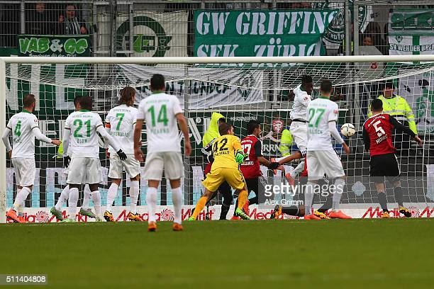 Benjamin Huebner of Ingolstadt scores his team's first goal during the Bundesliga match between FC Ingolstadt and Werder Bremen at Audi Sportpark on...