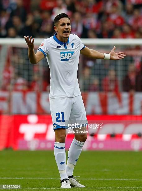 Benjamin Huebner of TSG Hoffenheim gestures during the Bundesliga match between Bayern Muenchen and TSG 1899 Hoffenheim at Allianz Arena on November...