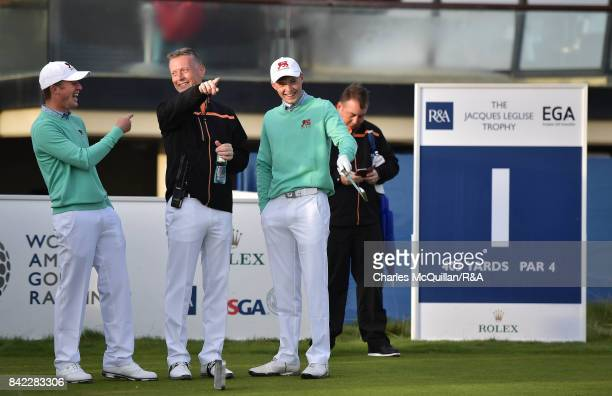 Benjamin Jones and Mark Power of GB and Ireland share a joke during the morning foursomes matches as the Jacques Leglise Trophy golf tournament...