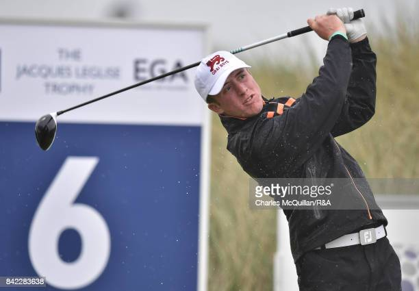 Benjamin Jones of Great Britain and Ireland during the afternoon singles matches as the Jacques Leglise Trophy golf tournament between GB Ireland...