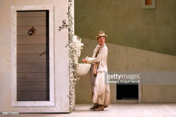 Benjamin Jungers performs in 'Les Jumeaux Venitiens' Press Theater Play at Theatre Hebertot on September 6 2017 in Paris France