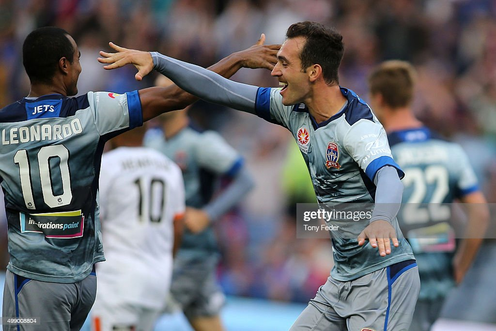 Benjamin Kantarovski of the Jets celebrates a goal during the round eight ALeague match between the Newcastle Jets and Brisbane Roar at Hunter...
