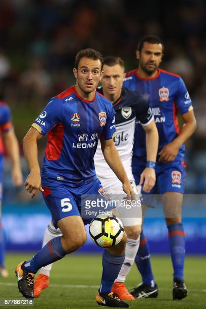 Benjamin Kantarovski of the Jets controls the ball during the round eight ALeague match between the Newcastle Jets and the Melbourne Victory at...
