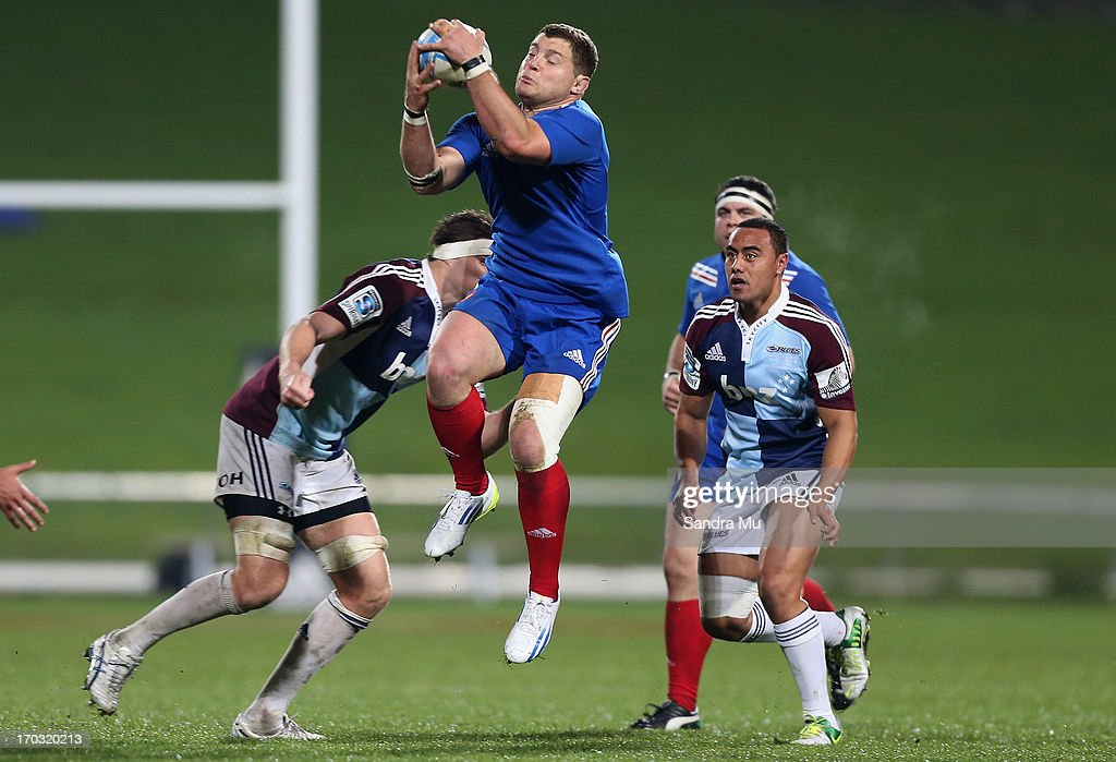 <a gi-track='captionPersonalityLinkClicked' href=/galleries/search?phrase=Benjamin+Kayser&family=editorial&specificpeople=2117538 ng-click='$event.stopPropagation()'>Benjamin Kayser</a> of France takes the high ball during the tour match between the Auckland Blues and France at North Harbour Stadium on June 11, 2013 in Auckland, New Zealand.