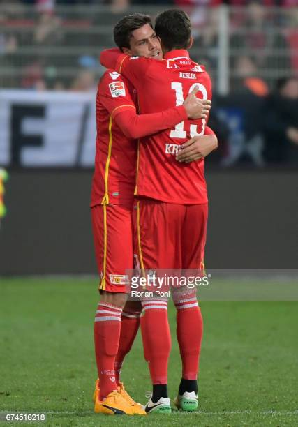 Benjamin Kessel and Damir Kreilach of 1 FC Union Berlin celebrate the 21 win after the game between dem 1 FC Union Berlin and dem SV Sandhausen on...