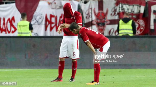 Benjamin Kessel and Mads Albaek of Kaiserslautern during the Second Bundesliga match between 1 FC Kaiserslautern and SV Darmstadt 98 at...