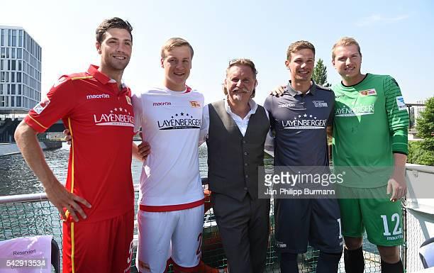 Benjamin Kessel Felix Kroos Ingo Lenssen Maximilian Thiel and Jakob Busk of 1 FC Union Berlin during the presentation of the new shirts of Union...